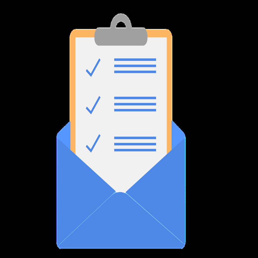 Arte de uma prancheta bege que contém um papel com uma lista escrita em azul, em alusão a uma lista de contatos para a estratégia de e-mail marketing. A prancheta está dentro de um envelope de carta de cor azul.