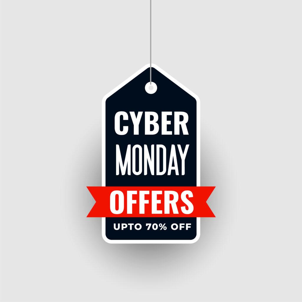 """Etiqueta azul escuro com os dizeres """"Cyber Monday oferece até setenta por cento de desconto"""" em inglês."""