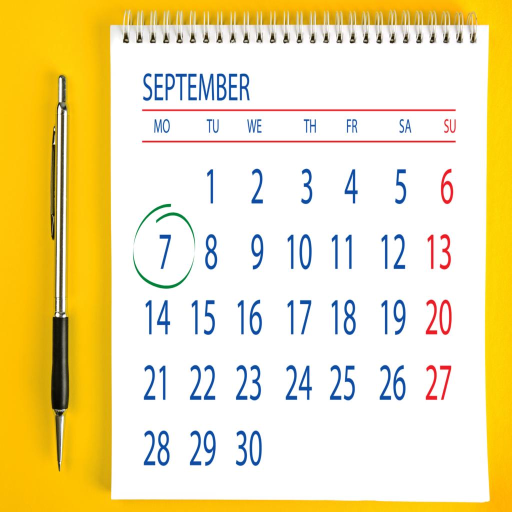 Calendário aberto no mês de setembro. O dia 7 de setembro esta circulado.