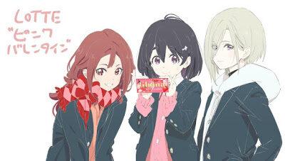 Três meninas usando um uniforme escolar comum no Japão. A do meio está segurando uma barra de chocolate.