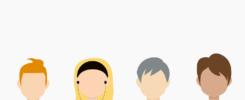 A imagem possui o fundo cinza claro. Na parte de baixo, há um desenho de quatro pessoas sem rosto, mas com cores e estilos diferentes, representando as possíveis personas de uma empresa.
