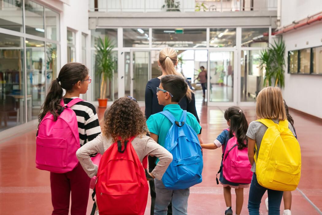 A imagem mostra cinco crianças, quatro meninas e um menino andando em direção à entrada da escola, guiados por uma mulher branca adulta.