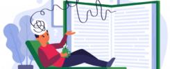 Imagem de um homem deitado em um divã de cor verde, segurando uma caneca verde, com livros no canto inferior esquerdo. Atrás está um grande livro aberto e os pensamentos do homem são como linhas que se conectam ao livro. Ao fundo temos em tons azuis um vaso de plantas e um quadro.